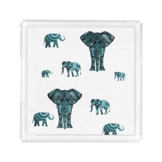Elephant Pattern Acrylic Tray