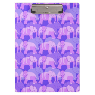 Elephant Pattern Clipboard - Purple