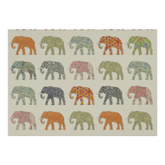 elephant pattern colorful animals poster