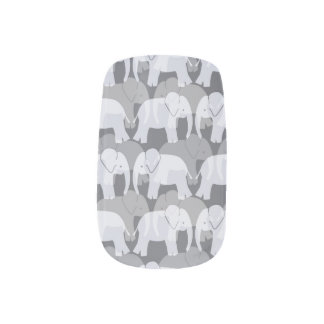 Elephant Pattern Minx Nails - Grey Minx Nail Art