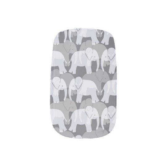 Elephant Pattern Minx Nails - Grey Nail Art