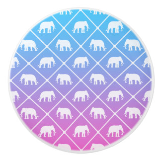 Elephant pattern on blue to pink gradient ceramic knob