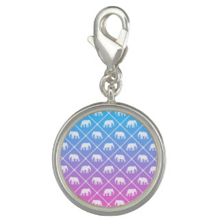 Elephant pattern on blue to pink gradient charm