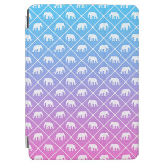 Elephant pattern on blue to pink gradient iPad air cover