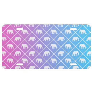 Elephant pattern on blue to pink gradient license plate