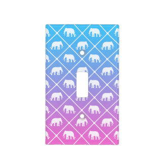 Elephant pattern on blue to pink gradient light switch cover