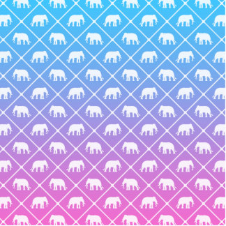 Elephant pattern on blue to pink gradient standing photo sculpture