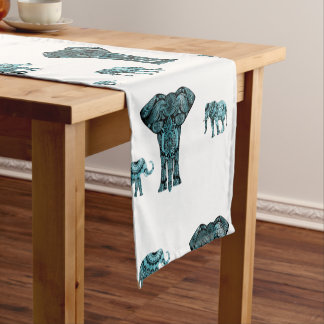 Elephant Pattern Short Table Runner