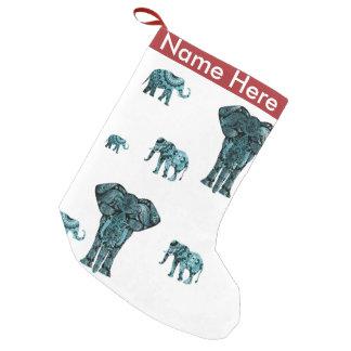 Elephant Pattern Small Christmas Stocking
