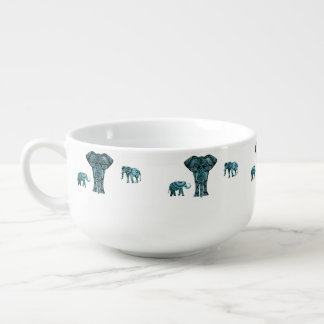 Elephant Pattern Soup Mug