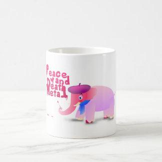 elephant: peace love and death metal coffee mug