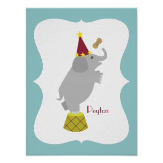 Elephant + Peanut Personalized Nursery Artwork Poster