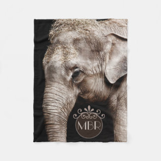 Elephant Photo Image Monogram Fleece Blanket