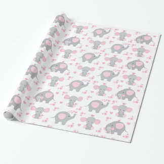 Elephant Pink Gray Safari Animal Baby Girl Shower Wrapping Paper