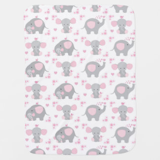 Elephant Pink Gray Safari Animal Nursery Baby Girl Baby Blanket