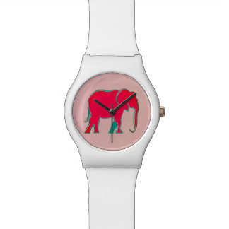 Elephant Pink Neon Vibrant Silhouette Modern Chic Watch