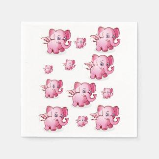 Elephant pink white napkin baby children's party paper napkin