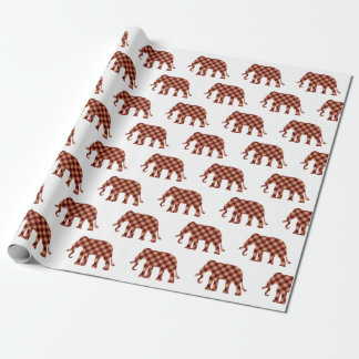 Elephant plaid custom background color wrapping paper