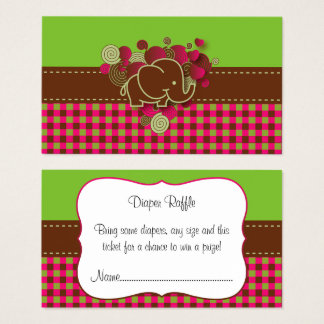 Elephant Plaid Diaper Raffle Business Card