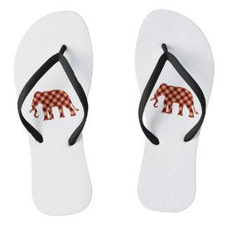 Elephant plaid flip flops