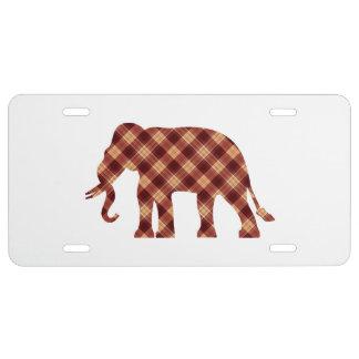 Elephant plaid license plate