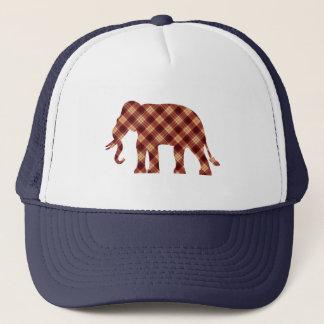 Elephant plaid trucker hat