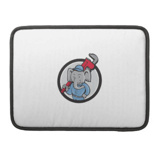 Elephant Plumber Monkey Wrench Circle Cartoon Sleeves For MacBooks