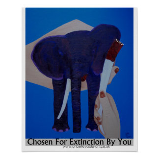 Elephant Poaching, Elephant Tusks, Conservation Poster