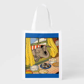 elephant poking his head through the window reusable grocery bag