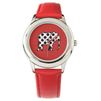 Elephant Polka Dots Black White Pattern Silhouette Watch