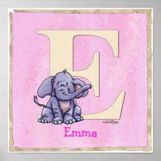Elephant poster alphabet print