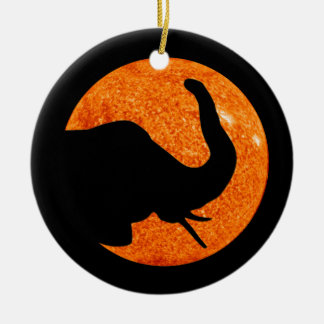 Elephant Profile Solar Eclipse Ceramic Ornament
