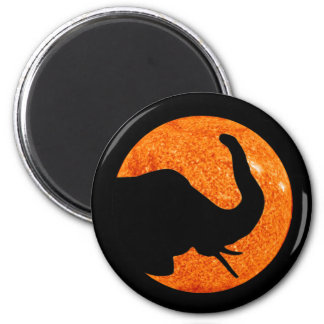 Elephant Profile Solar Eclipse Magnet