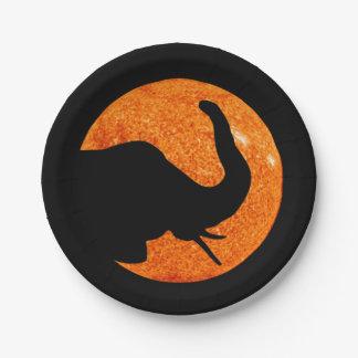 Elephant Profile Solar Eclipse Paper Plate