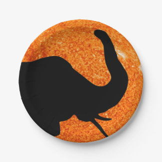 Elephant Profile Solar Eclipse Shadow Paper Plate