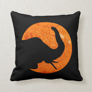 Elephant Profile Solar Eclipse Throw Pillow