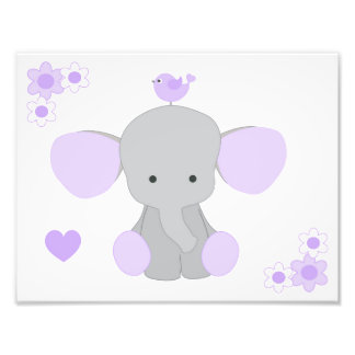 Elephant Purple Gray Nursery Baby Girl Wall Art