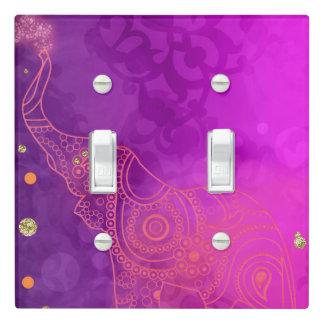 Elephant Purple Pink Orange & Gold Custom Chic Light Switch Cover