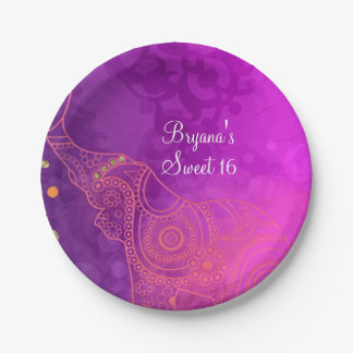 Elephant Purple Pink Orange & Gold Custom Party 7 Inch Paper Plate
