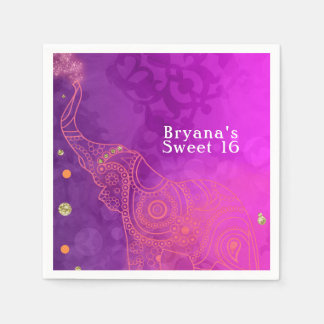 Elephant Purple Pink Orange & Gold Party Custom Disposable Napkin