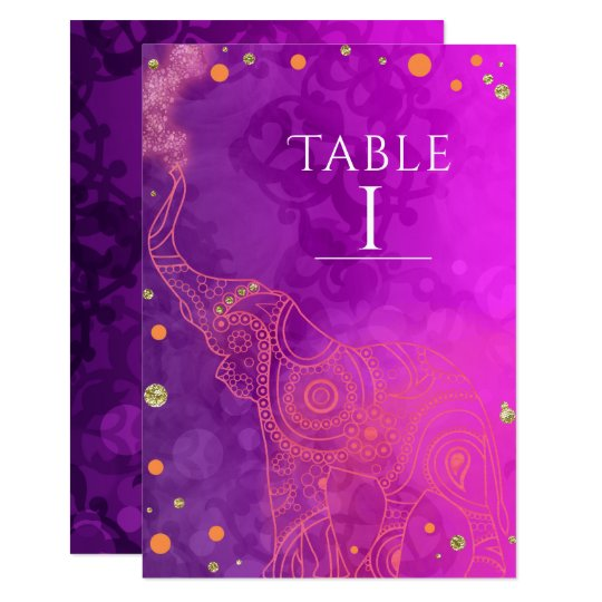 Elephant Purple Pink Orange & Gold Table Number Card