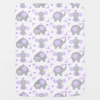 Elephant Purple Safari Animal Nursery Baby Girl Baby Blanket