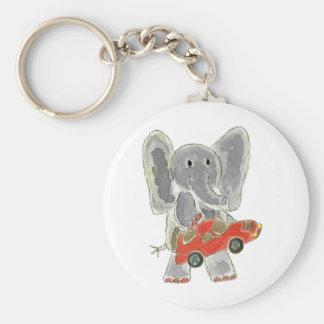 Elephant Racecar Basic Round Button Keychain
