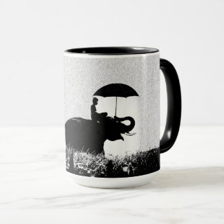 Elephant rain Art- Black 15 oz Combo Mug