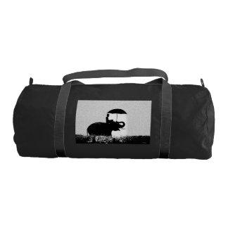 Elephant rain Art- Gym Bag, Black with Black strap Gym Bag