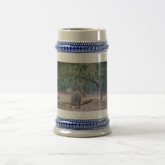 Elephant reaching for Acacia tree Beer Stein