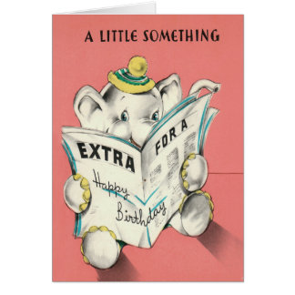 Elephant Reading Newspaper Birthday Card