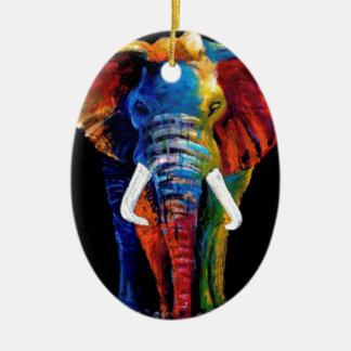 ELEPHANT RETRO STYLE CERAMIC OVAL ORNAMENT