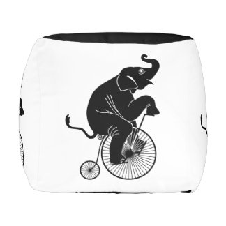 Elephant Riding a Bike Pouf