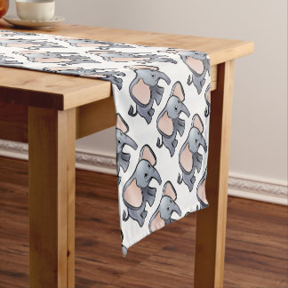 Elephant Safari Animals Cartoon Character Short Table Runner